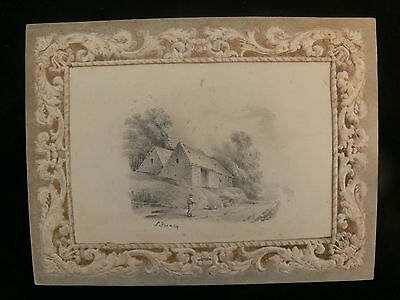 Early 19th Century Pencil Drawing of a Pastoral Scene by Sarah Treacy