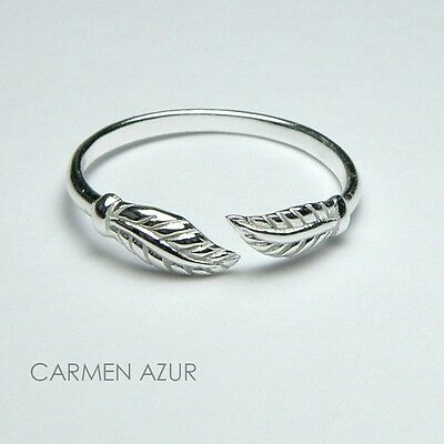 Solid 925 Sterling Silver Toe / Midi Ring Leaf Design New  Gift Bag  Free UK P&P
