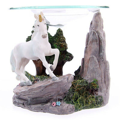 New Prancing Unicorn On Rock With Trees Oil Burner Mythical Fantasy Uni10 A