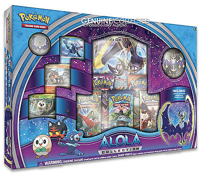 Lunala GX Alola Sun Moon Pokemon Card Box | 5 Boosters Holo Promo Figure +more