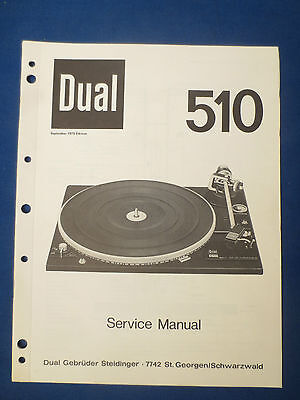 Dual 510 Turntable Service Manual Original Factory Issue