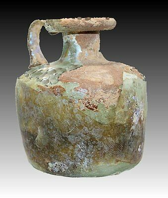 Ancient Roman Glass Oil Jug Circa 2nd century AD.