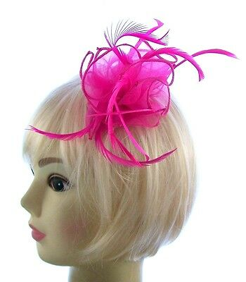 Fushia Hot Pink Hair Fascinator mounted on a comb for Special Events