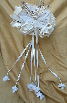 Antique Victorian Edwardian  Wedding Bouquet Wax Flowers And Frabric Roses