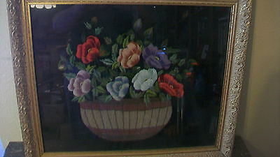 VINTAGE 1950's EMBROIDERED FLOWERS IN BASKET ON BLACK SILK CLOTH FRAMED