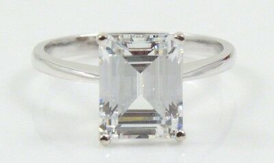14K WHITE GOLD 3.50 CT EMERALD CUT Wedding Engagement Ring