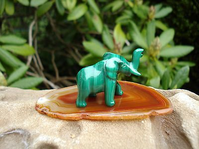Malachite-From Africa-Elephant Carving with Carnelian Agate Slice