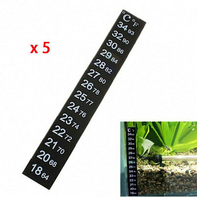 5pcs LCD Stick On Adhesive Strip Flat thermometer Aquarium Fish Tank Brew Window