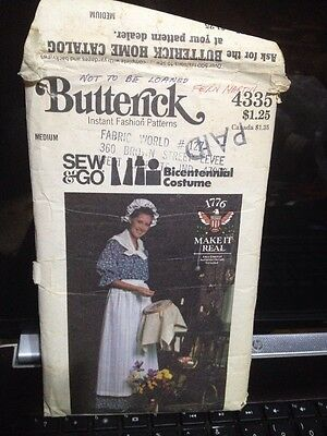 Butterick Pattern 4335 Women's 1776 Dress, Apron, Hat and scarf Size 12-14