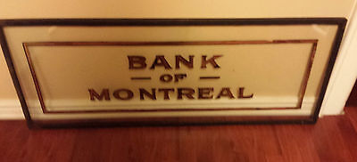 """RARE Early-Mid 1900's 18"""" x 45"""" Hand Made Bank of Montreal Sign from Building"""