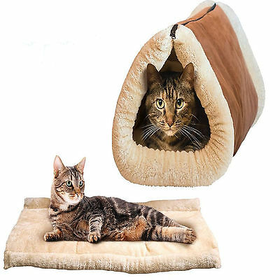Warmer Winter Kitty Shack - 2 in 1 Pet Accessories Tube Cat Mat and Tunnel Bed