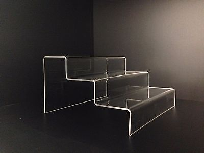 3 Step Clear Acrylic Display Steps Perspex Point of Sale Risers - Lot of 3 units