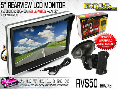 DNA 5 INCH REARVIEW LCD MONITOR FOR REVERSE CAMERA 800x400 RES + WINDOW BRACKET