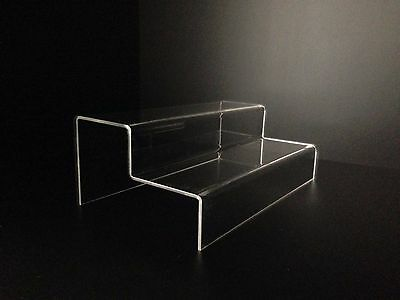 2 Step Clear Acrylic Display Steps Perspex Point of Sale Risers - Lot of 3 units
