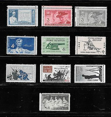 10 All Different Civil War Themed Mint USA Postage Stamps Issued Between 1948-70