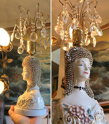 Boudoir Victorian Deco Fountain Lamp JEWELED porcelain Lady chandelier Rhineston