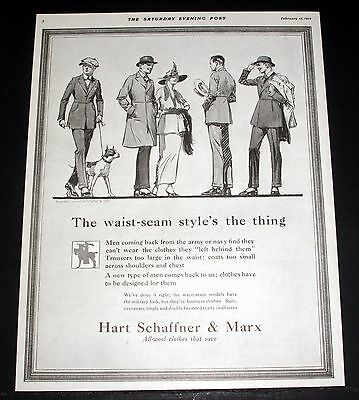1919 Old Magazine Print Ad, Hart Schaffner & Marx, Waist-Seam Style's The Thing!