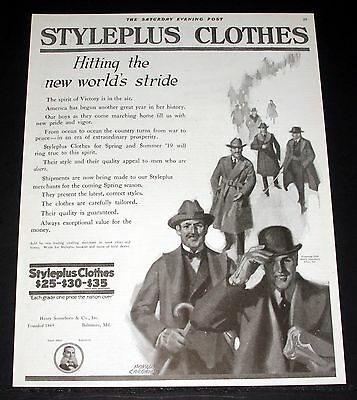 1919 Old Magazine Print Ad, Styleplus Clothes, Hitting The New World's Stride!