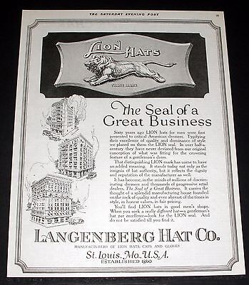 1919 Old Magazine Print Ad, Langenberg, Lion Hats, The Seal Of Great Business!