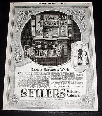 1919 Old Magazine Print Ad, Sellers Kitchen Cabinets, Does A Servant's Work!