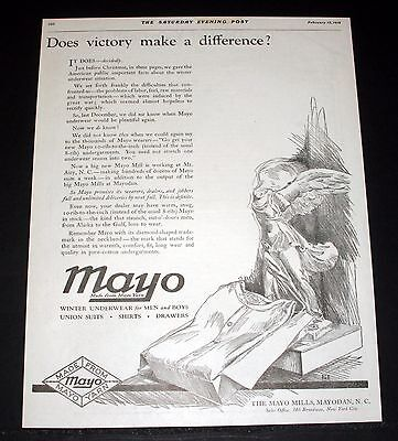1919 Old Magazine Print Ad, Mayo Underwear, Does Victory Make A Difference, Art!