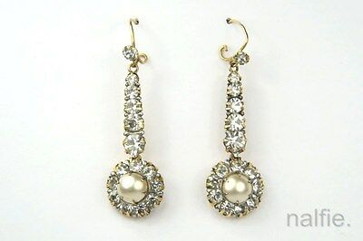 ANTIQUE 9CT GOLD FOILED PASTE & PEARL DROP EARRINGS c1930s