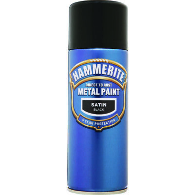 Smoothrite Metal Paint Satin Black 400ml Aerosol Spray Can Hammerite HAM5084778
