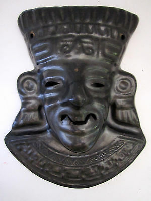 "Vintage mexican mask black clay wall hanging 11"" tall tribal artist signed"