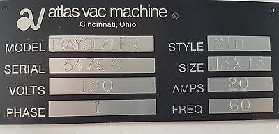 "Atlas Vac Machine Tray Pouch Sealer Style STD 13"" x 13"""