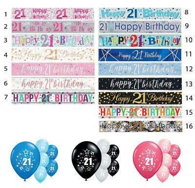 21st HAPPY BIRTHDAY BANNERS PINK BLUE BLACK PARTY DECORATIONS