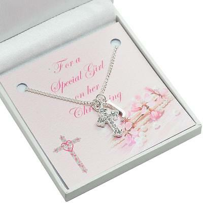 Gift for Girls Christening Day, Cross Necklace with Initial for Goddaughter etc