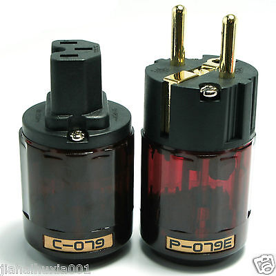 Gold Plated C-079 + P-079e Schuko Europe EU Power Supply Plug Audio Connecto