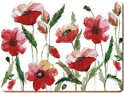 Set of 6 WATERCOLOUR POPPY Premium Cork-Backed PLACEMATS