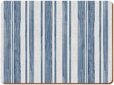 Set of 4 EVERYDAY HOME Blue Textured Stripe CORK-BACKED PLACEMATS