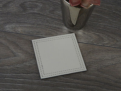 Set of 4 GREY Bonded Leather COASTERS