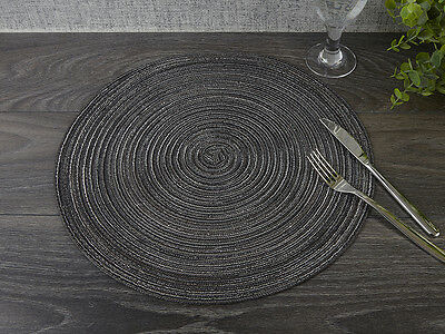 "ROUND Grey WOVEN PLACEMAT, 38cm (15"")"