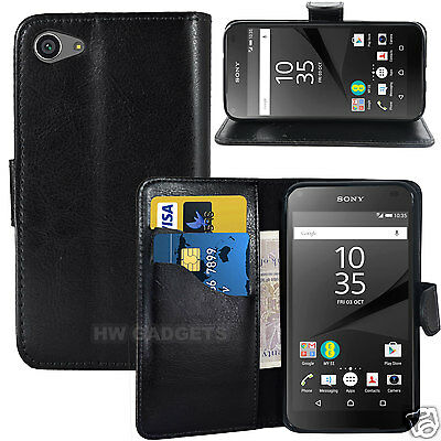 Leather Wallet Flip Case Cover for Sony Xperia Z5 Compact - FULL BODY PROTECTION