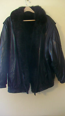 Vintage Men's Black Leather And Black Mink Reversible Jacket, Extra-Large