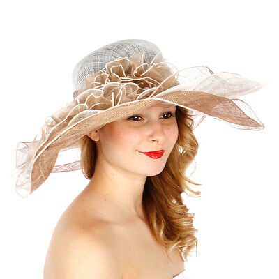 Kentucky Derby Formal Sinamay Two-Tone Multi-Layer Wide Brim Hat N25 White Taupe