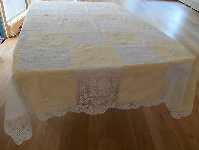Antique Vintage TABLECLOTH ITALIAN WHITE WORK & FILET LACE EMBROIDERY