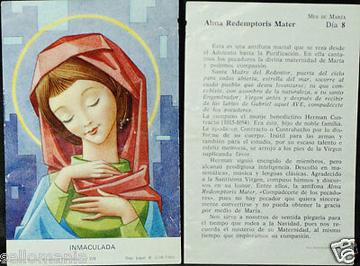 Old Blessed Virgin Immaculate Conception Holy Card 1968 Santini Estampa    Cc792