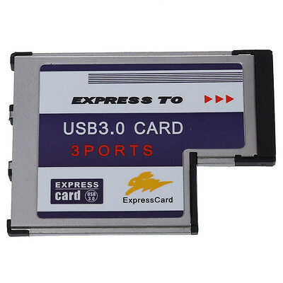 Sodial(R)3 Port USB 3.0 54mm PCMCIA Express Card for Laptop