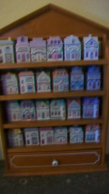 Lenox Fine Porcelain Spice Village with wooden rack, 24 Spice Houses from 1989