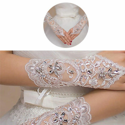 NEW Bride White Gloves Beads Embroidery Beaded Short Wedding Dress Bridal Gloves