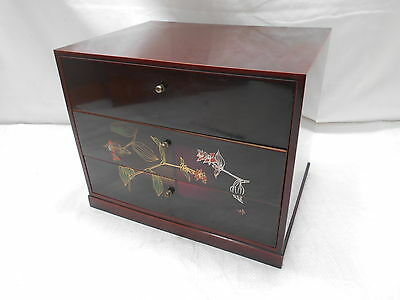 Vintage Kiri Wood Box Japanese Jewellery Drawers Circa 1960s #444