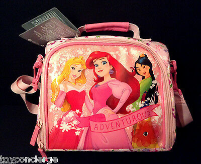 DISNEY Store PRINCESS LUNCH BOX Tote ARIEL AURORA MULAN Pink School 2016 NWT