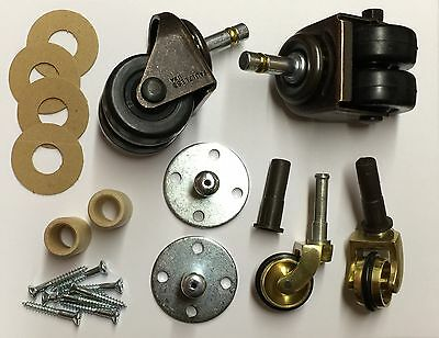 Piano Full Rubber Wheel Caster Set w/Hardware For Spinet/Console