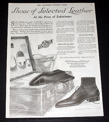 1918 Old Wwi Magazine Print Ad, Selz, Shoes Of Selected Leather, No Substitutes!