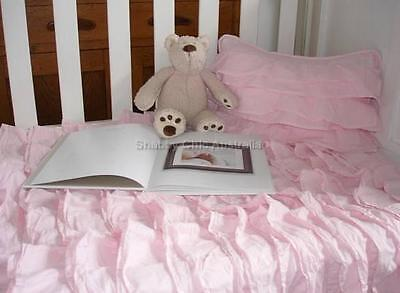 Cot Crib Infant Nursery Bedding Quilt Shabby Petticoat French Chic Pink Ruffles