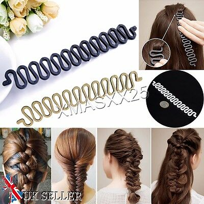 UK French Hair Braiding Tool Roller With Hook Easy Plait Twist Styling Bun maker